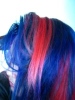 Blue and Red Hair by demonase