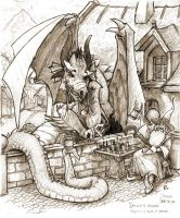 Playfull Dragon and Wizard by jadeLoTuZ