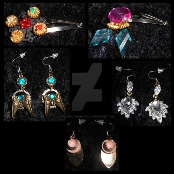 Hairclips and Earrings by FlamingCabbitProd