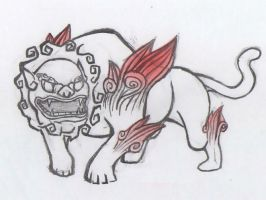 Chinese lion - Okami influence by 1nflames