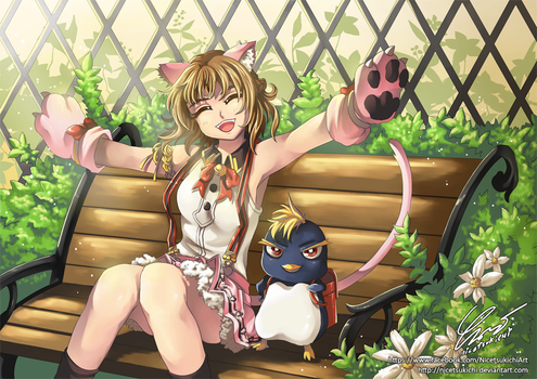 Kitty and the Penguin by nicetsukichi