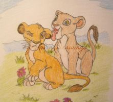 Young Simba and Nala by LovingDrawings