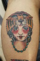 Lady Head Tiger Headdress by Steve-Rieck