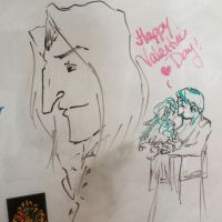 Whiteboard Snape for Valentine's by dragoon811