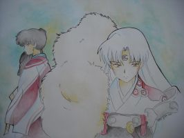 Sesshomaru and Kagura by giulystar-chan