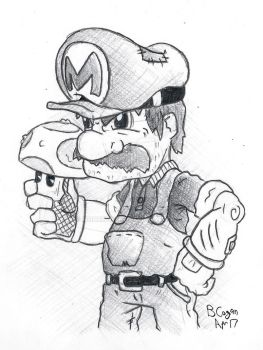 Super Mario sketch by monkeypoke