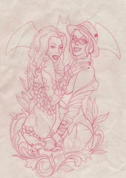 Harley Quinn and Poison Ivy Pinup by XXXGrapeJuiceXXX