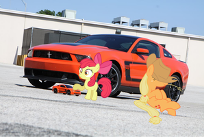 Applejack and Applebloom's Mustangs by nestordc