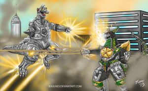 Mechagodzilla vs Dragonzord....ready, FIGHT! by kaijukid