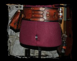 steampunk leather belt utility back view by Lagueuse