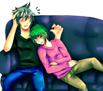 Seto and Akiva couch sleeping by Izaachan