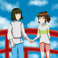 Haku and Chihiro: Holding Hands by YuiStar