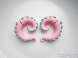 pastel pink octopus fake gauges by tea-time-alchemist