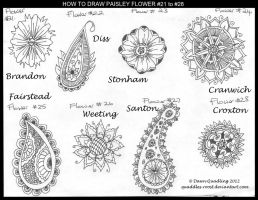 How to Paisley Flowers #21 to #28 quaddles-roost by Quaddles-Roost