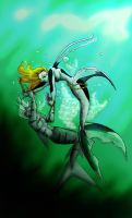 Angel Fish VS. Tiger Shark by Tirinwe