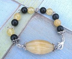 Calcite and Onyx Bracelet by Night-Maiden