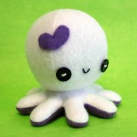 White valentine octopus plush by jaynedanger
