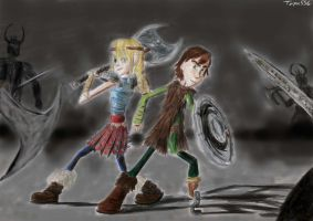 Hiccup and Astrid in battle by Taipu556