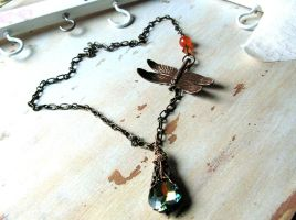 Sunlight Through the Forest Necklace Dragonfly by artistiquejewelry