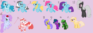 CLOSED 1-5 points each Pony Adoptables by Cartoonfangirl4