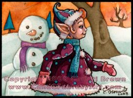 ACEO winter snow elf fairy art by candcfantasyart