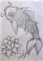 Koi fish and flower by Industriealptraume