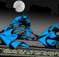 Batman on the Roof Top Colorin by mustbethenonni