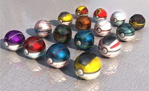 Many different realistic Pokeballs by FinnAkira