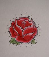 Traditional rose tattoo design by BrittanyLovesPeanut