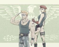 Guile and Cammy by FieryStampede