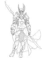 Paladin of Lyr Lineart by Endyamar