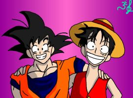 Goku and Luffy by yeidsil