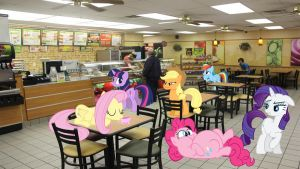 Mane 6 At Subway by Macgrubor