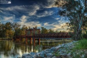 Tocumwal Railway Bridge At Sunset by djzontheball