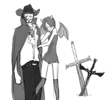Mihawk and Achiko by kabecao