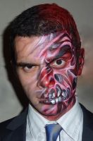 Two Face Haloween face paint by Bodypaintingbycatdot