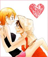 Nami x Luffy: Hi Nami by 24person