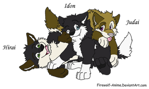 Wolpy and Landsoul's pups Hirai, Idon and Judai by TheBrightServant3