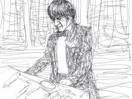 Second Doctor at the console by Draculasaurus
