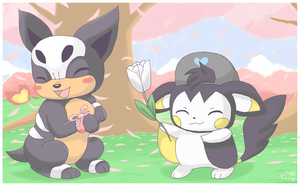 Emolga and Houndour by pichu90