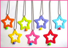 Colorful Star Necklaces by cherryboop