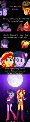 How Twilight and Sunset became friends :) by Robukun