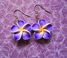 Purple Hibiscus Earrings by LypticDesigns