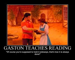 Gaston Teaches Reading by LivingShadowDarkMark
