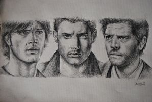 Sam, Dean, Castiel by ChocoWay
