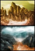 Landscape speedpaint concepts by MyBurningEyes