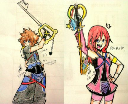 Redesigned Sora and Kairi Sketches by todsen19