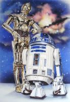 C3PO and R2D2 Mural by linkerart