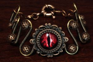 Steampunk Bracelet - Red Evil Dragon Eye by CatherinetteRings