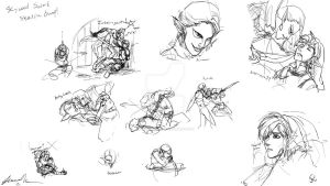 Skyward Sword Sketch Dump 01 :Link and Ghirahim: by JereduLevenin